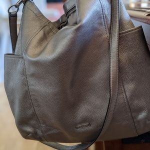 Coach Leather Tote in Pewter/rich silver